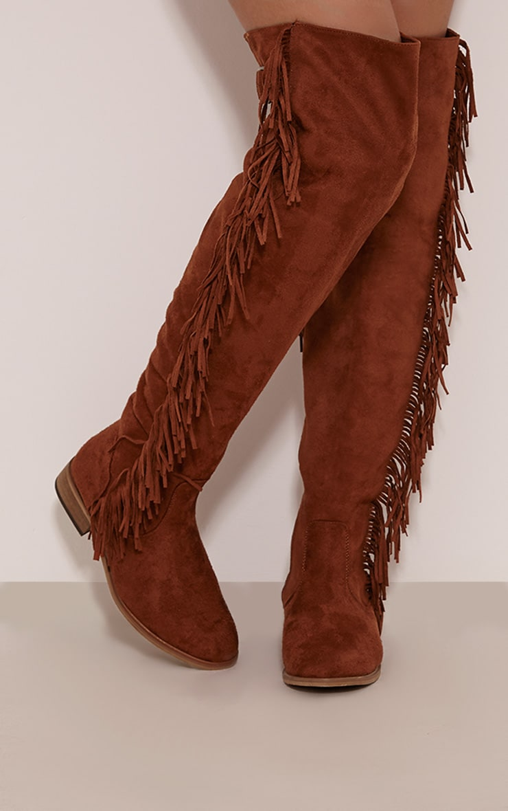 Larie Tan Over The Knee Fringed Boots 2