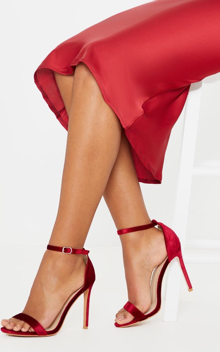 Dark Red Velvet Clover Heeled Sandals 1