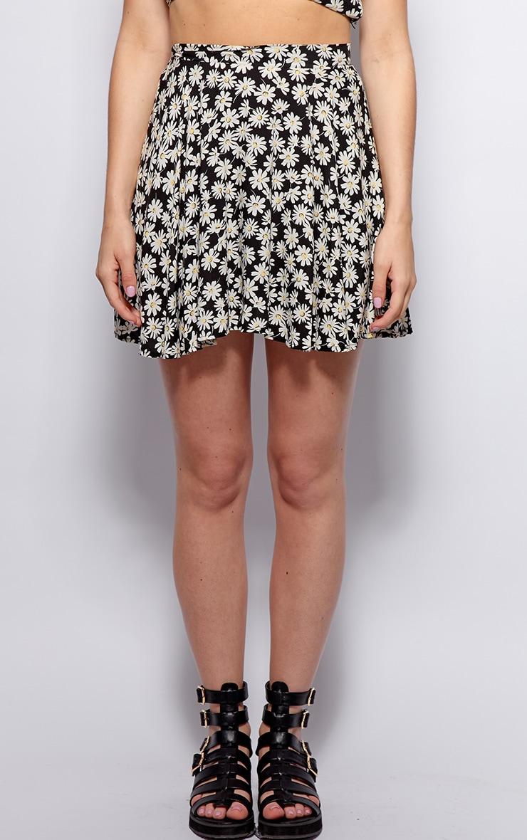 Kara Black Daisy Print Skirt 4