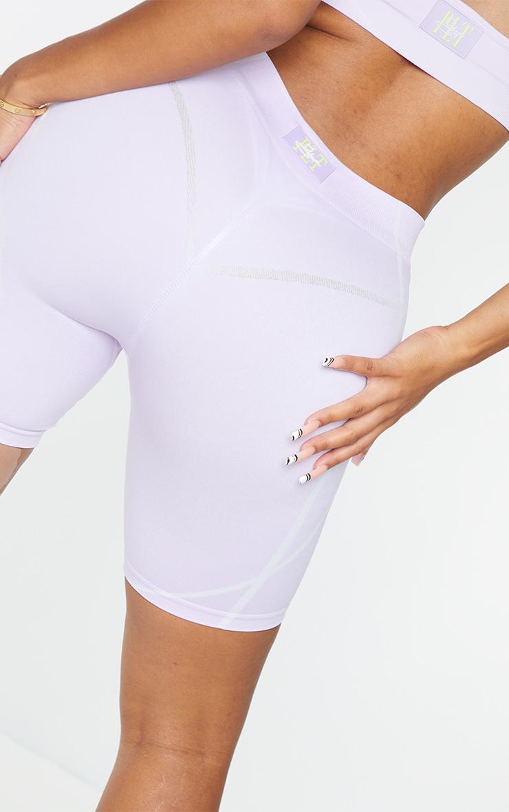 PRETTYLITTLETHING Shape Lilac Badge Gym Shorts 5