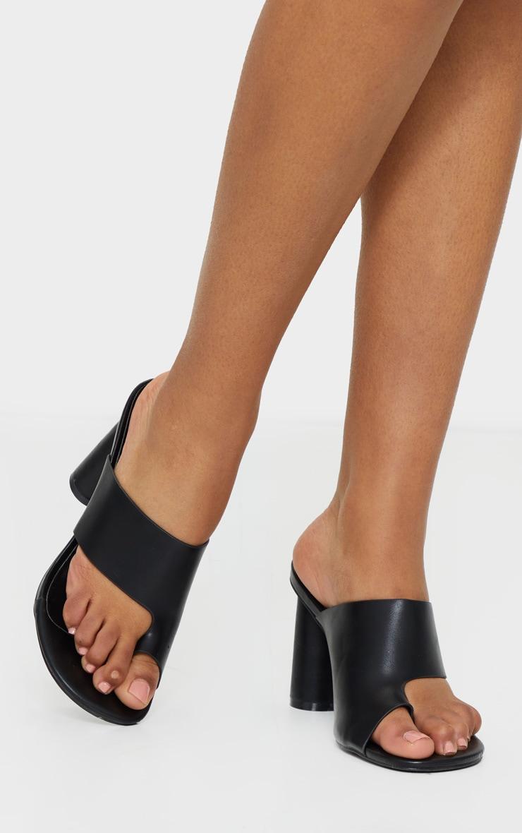 Black Cylinder Heel Single Toe Strap Mule 1