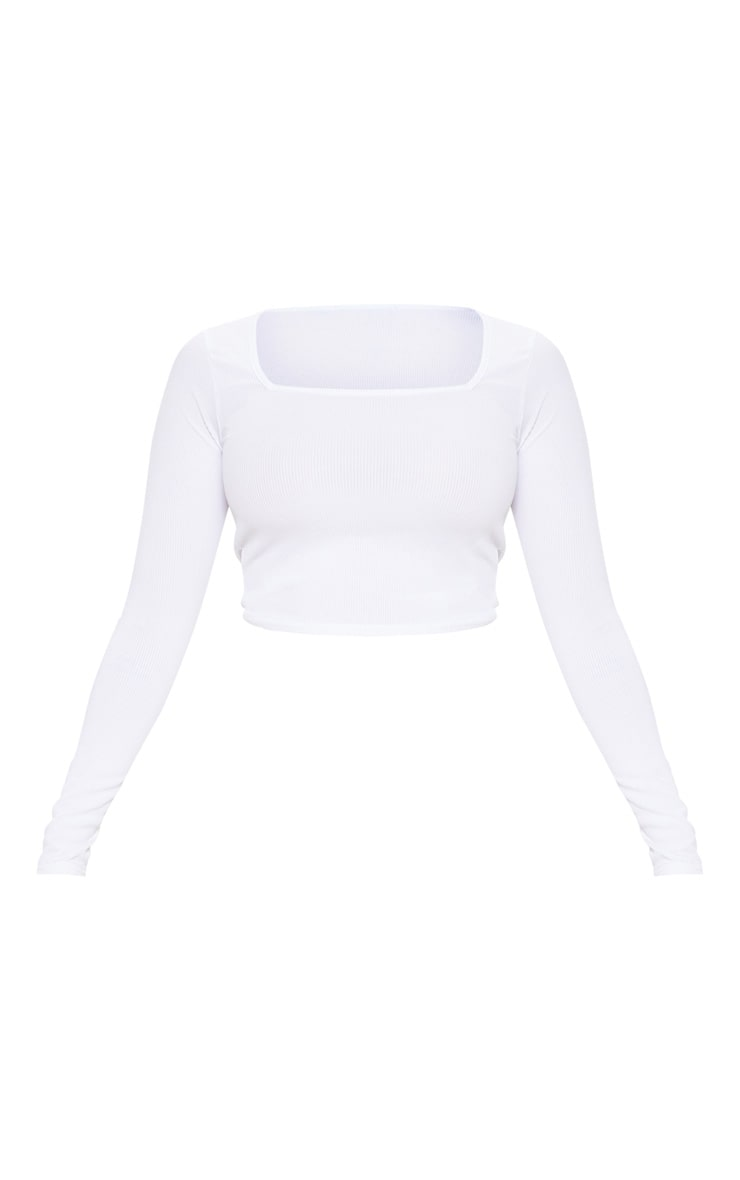 Petite White Square Neck Ribbed Long Sleeve Crop Top 3