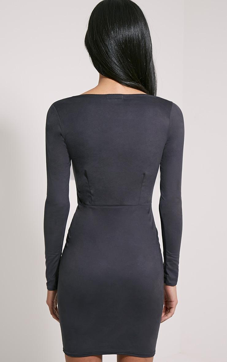 Solita Black Faux Suede Lace Up Mini Dress 2