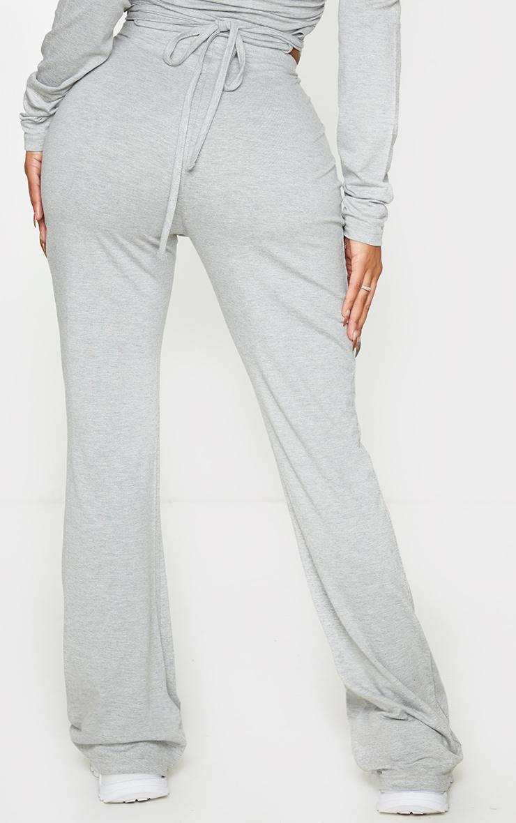 Shape Grey Cotton Tie Front Wide Leg Trousers 3