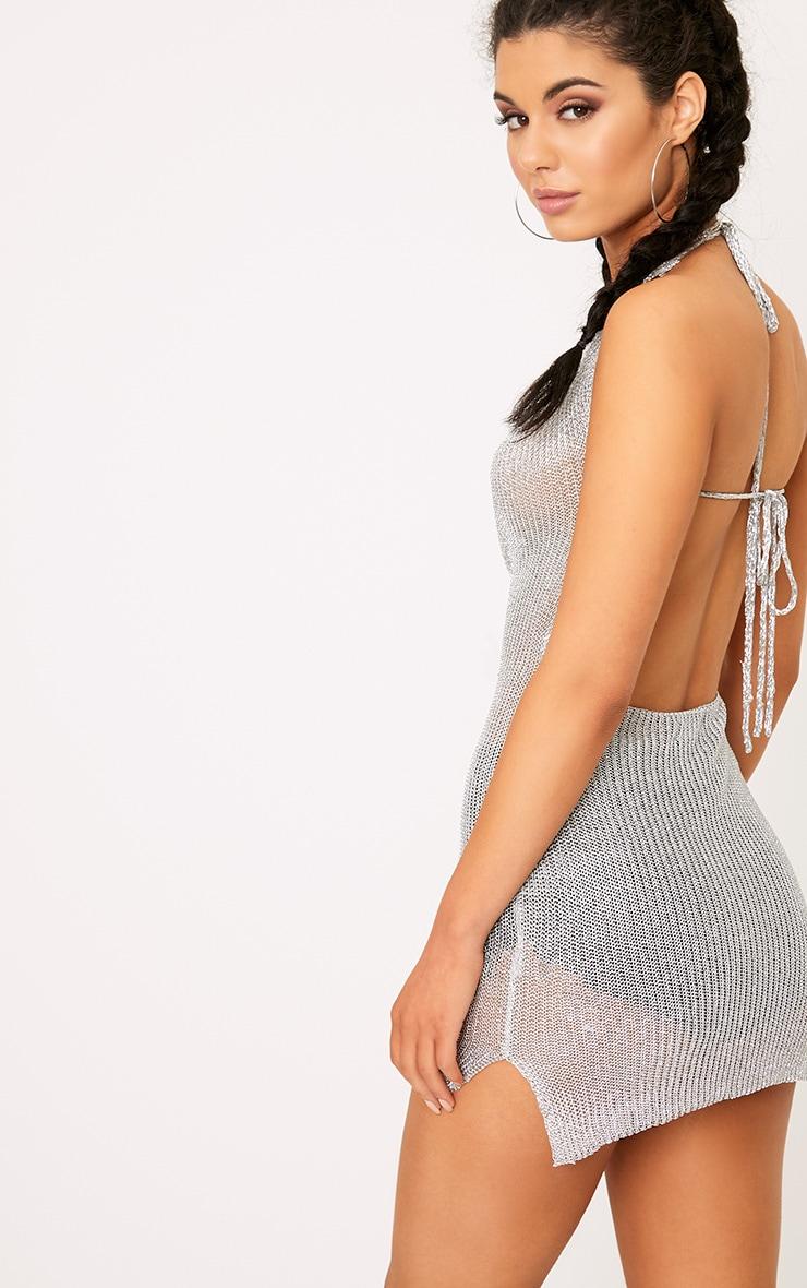 Jaz Silver Metallic Knit  Cowl Neck Mini Dress 2
