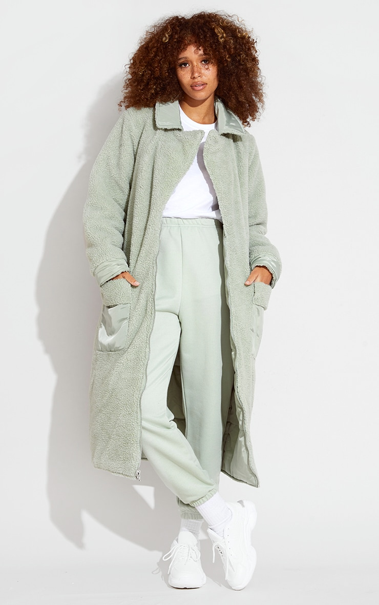 Sage Green Borg Reversible Nylon Maxi Coat 3