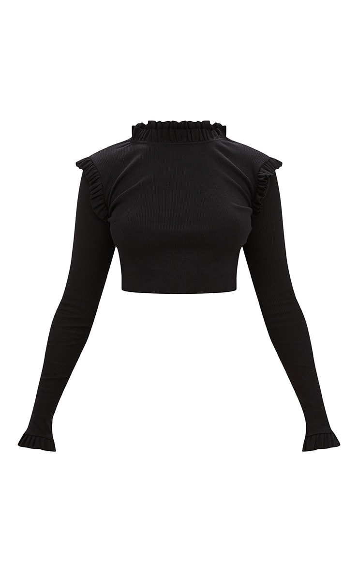 Black Ribbed Frill Edge Long Sleeve Top  3
