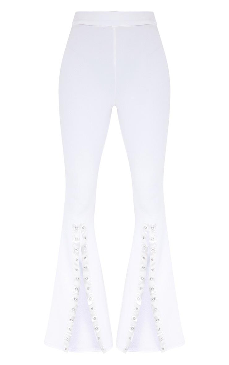 Petite White Eyelet Split Leg Trousers 3
