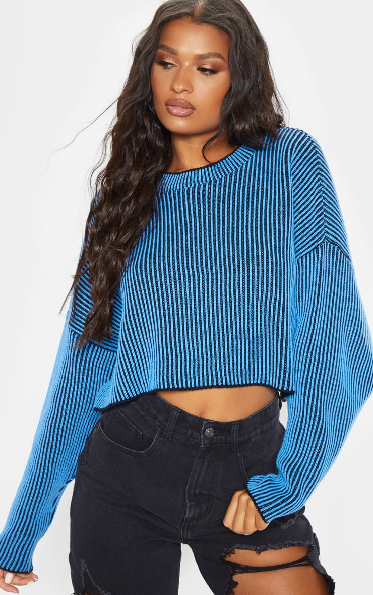 Blue Two Tone Knitted Batwing Sweater 5