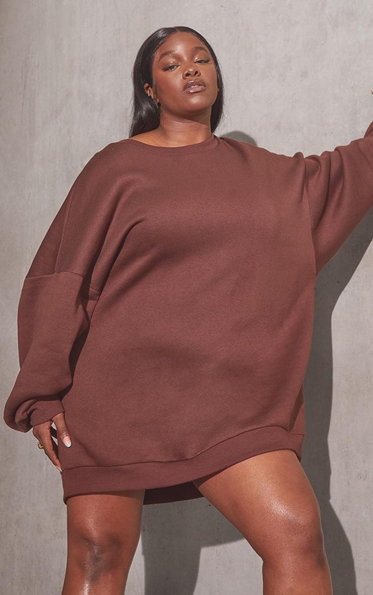 RENEW Plus Chocolate Oversized Sweat Jumper Dress 1