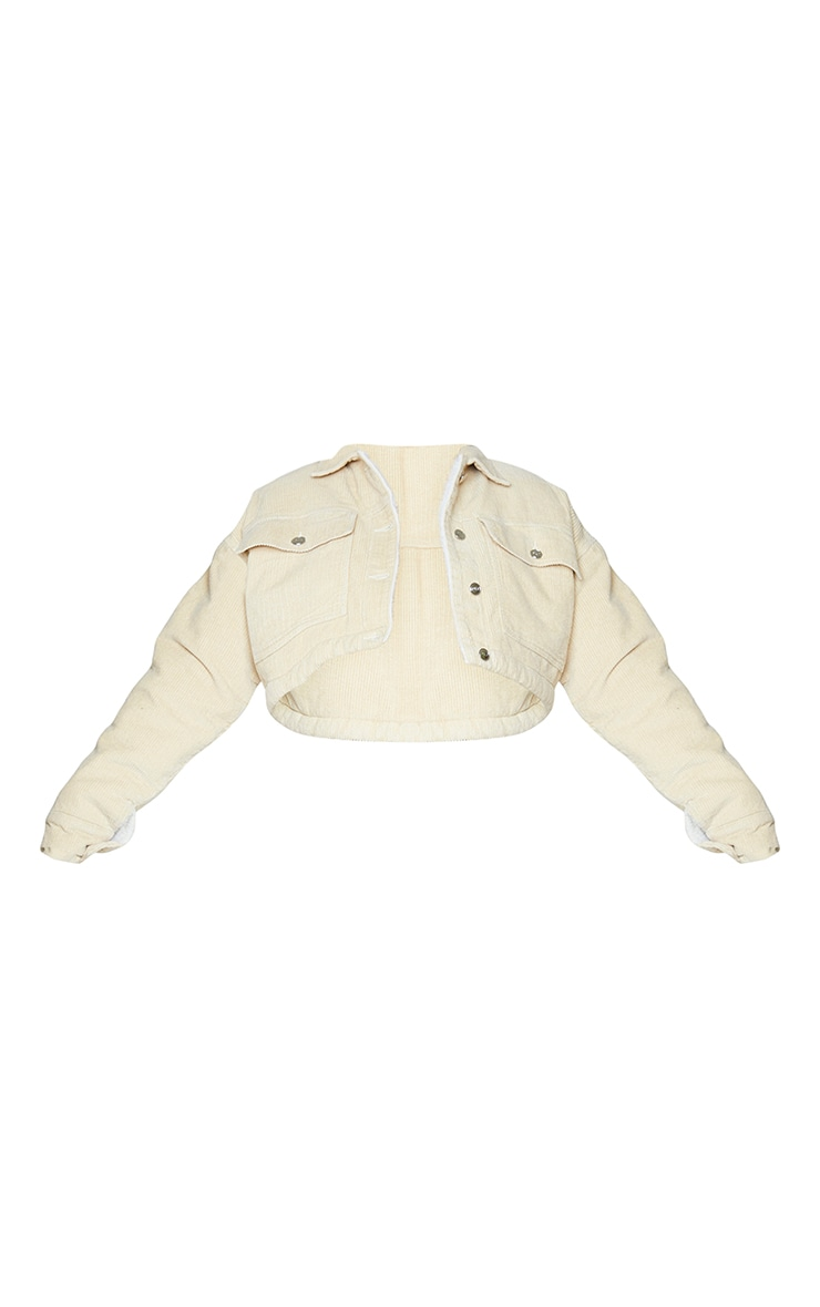 Stone Cord Borg Lined Cropped Trucker Jacket 5