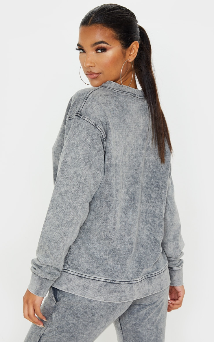 Light Grey V Neck Long Sleeve Washed Sweater 2