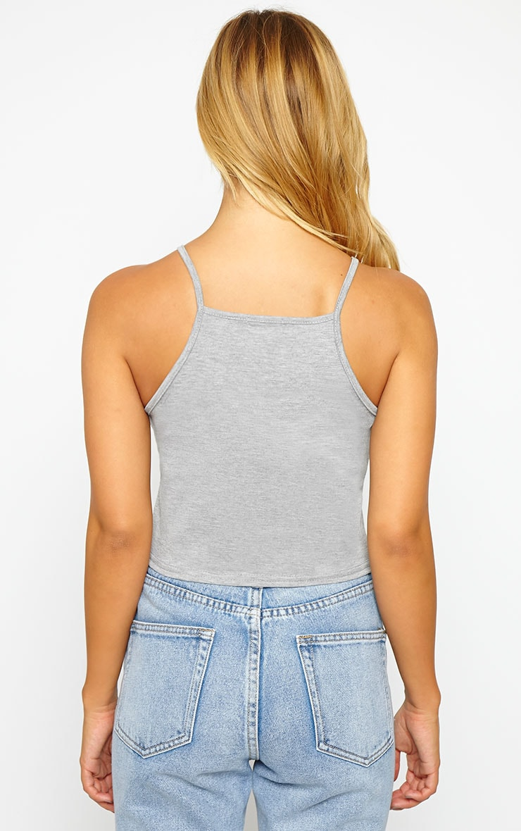 Basic Grey Racer Neck Crop Top 2