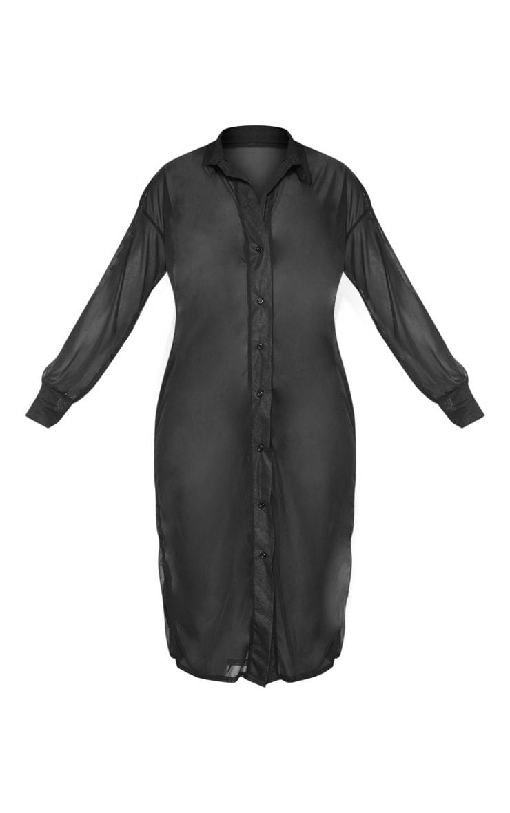 Black Oversized Beach Shirt Dress 3