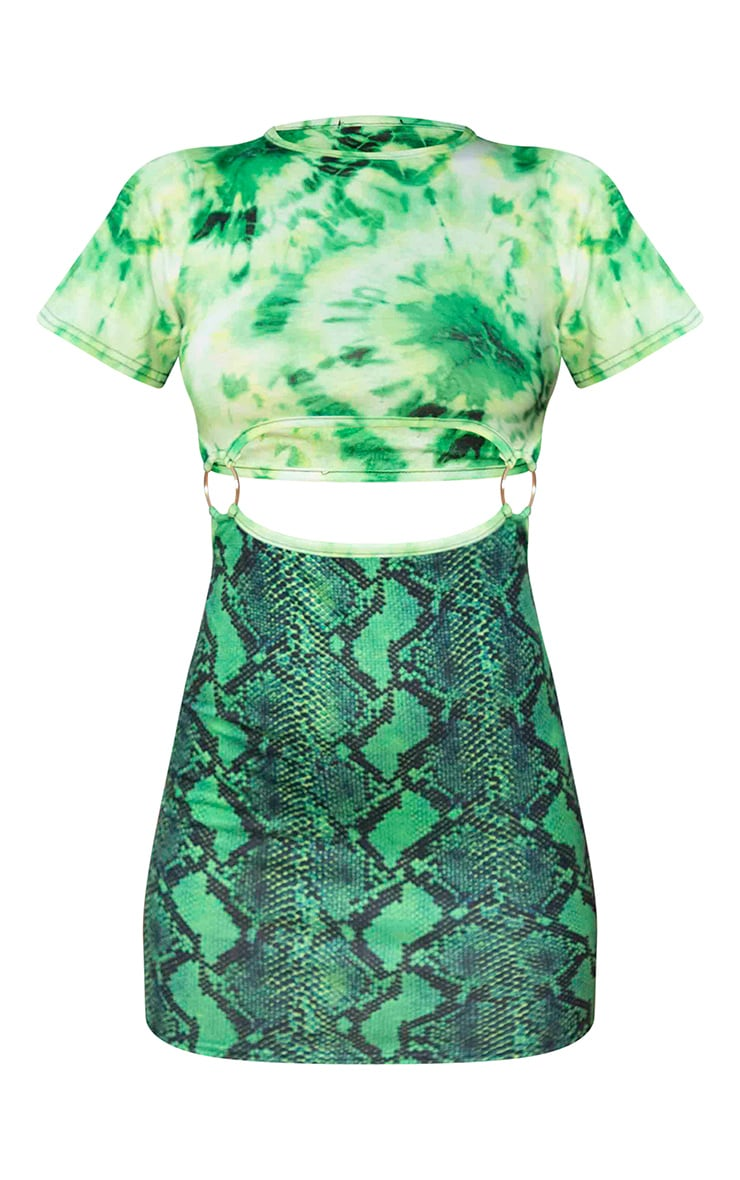 Green Mixed Print Ring Detail Bodycon Dress 5