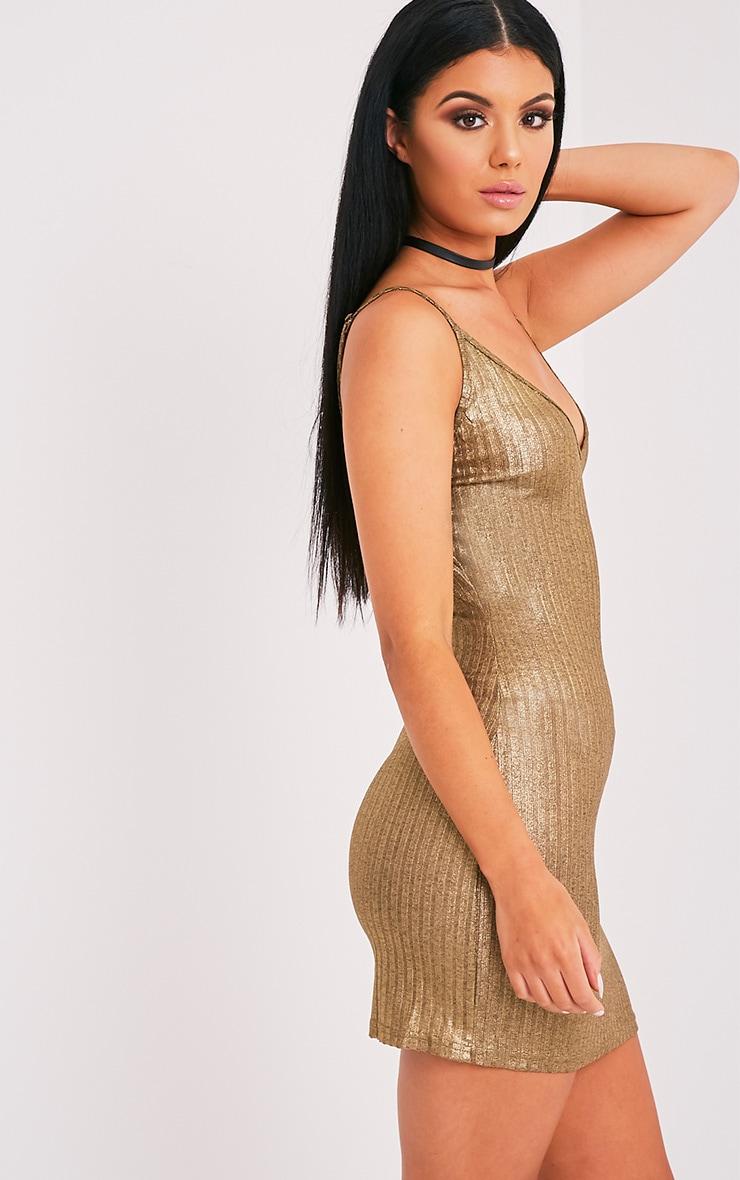 Abbygail robe mini en maille côtelée or métallisé 4