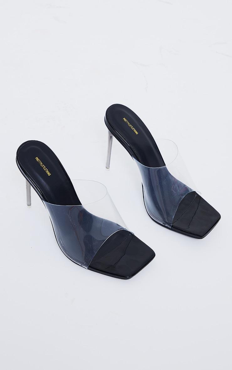 Black Clear Square Toe Pin Stiletto Heel Mules 3