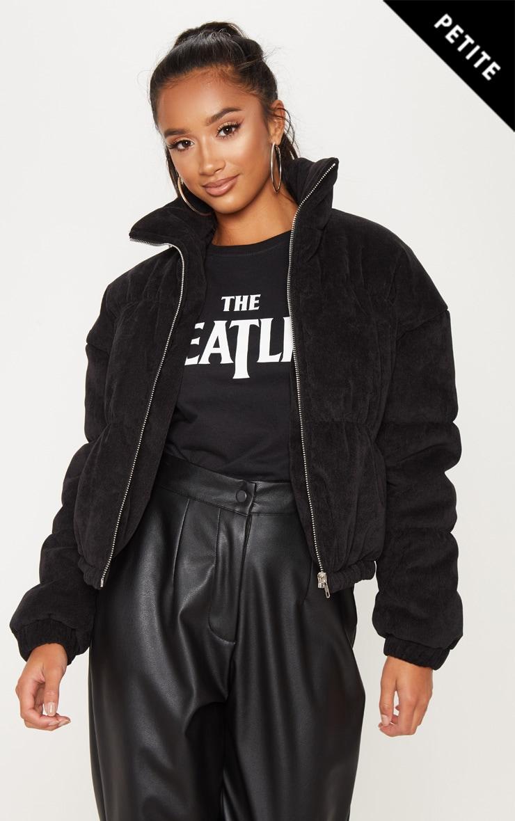 Petite Black Cord Puffer Jacket