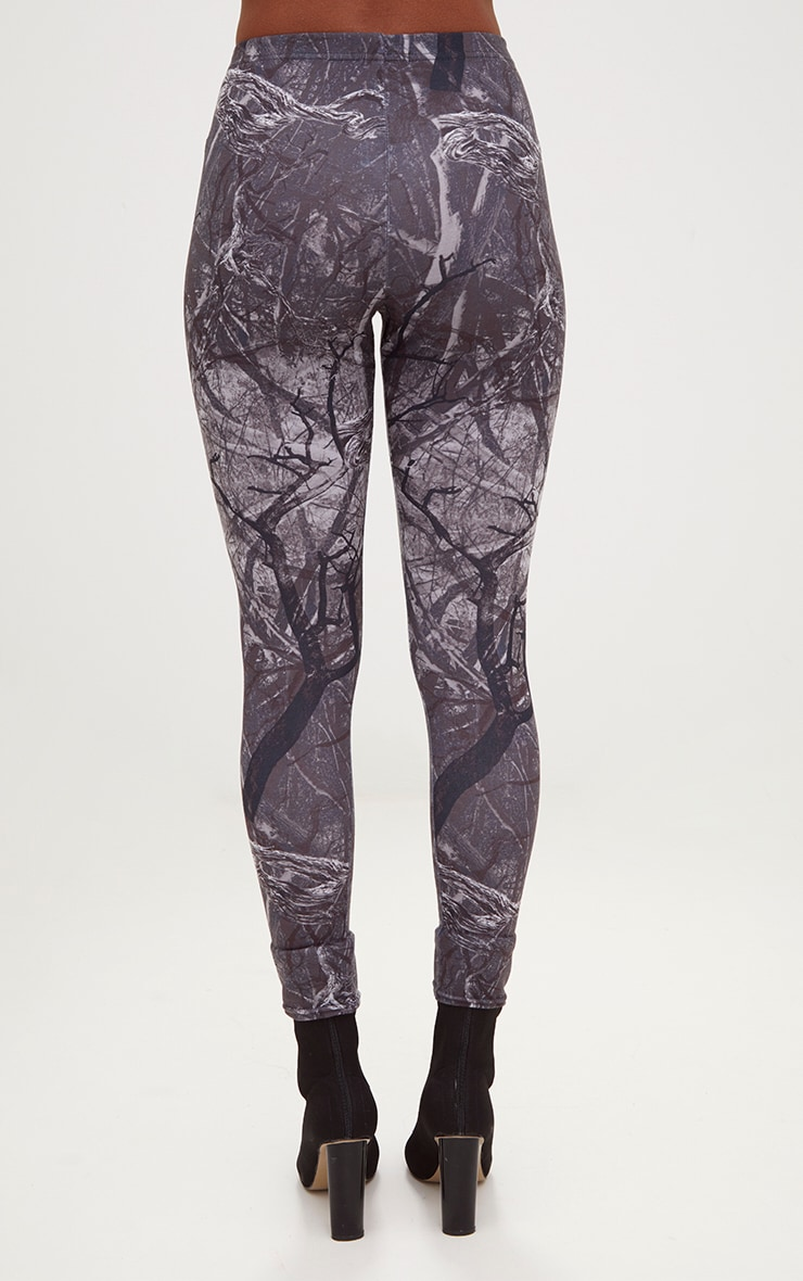 Grey Forest Print Camo Leggings 4