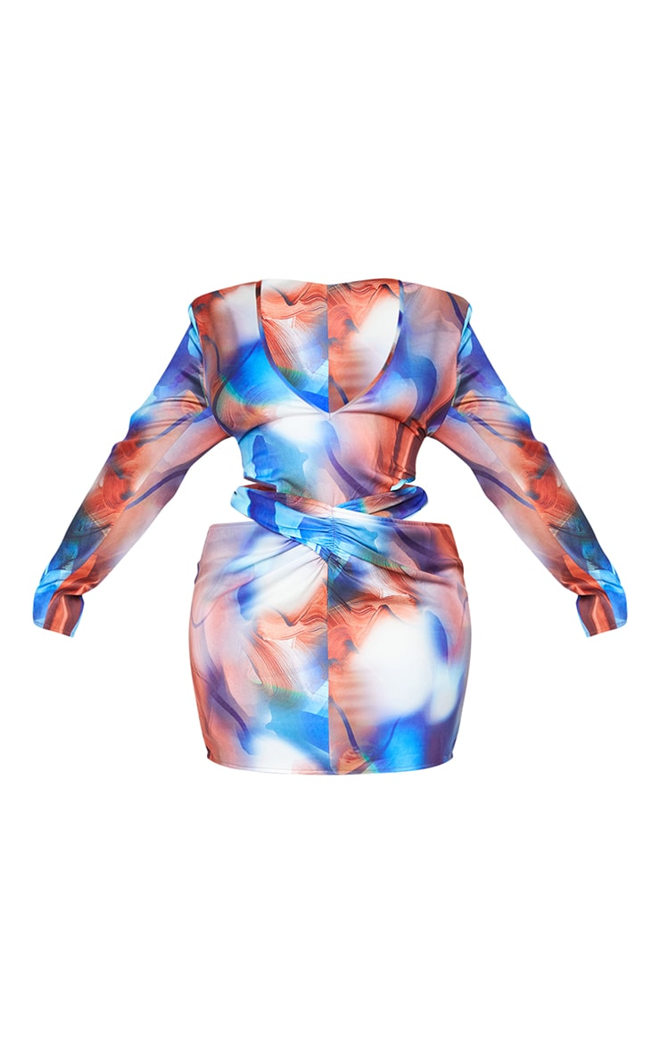 Plus Blue Marble Print Woven Plunge Cut Out Long Sleeve Dress 5