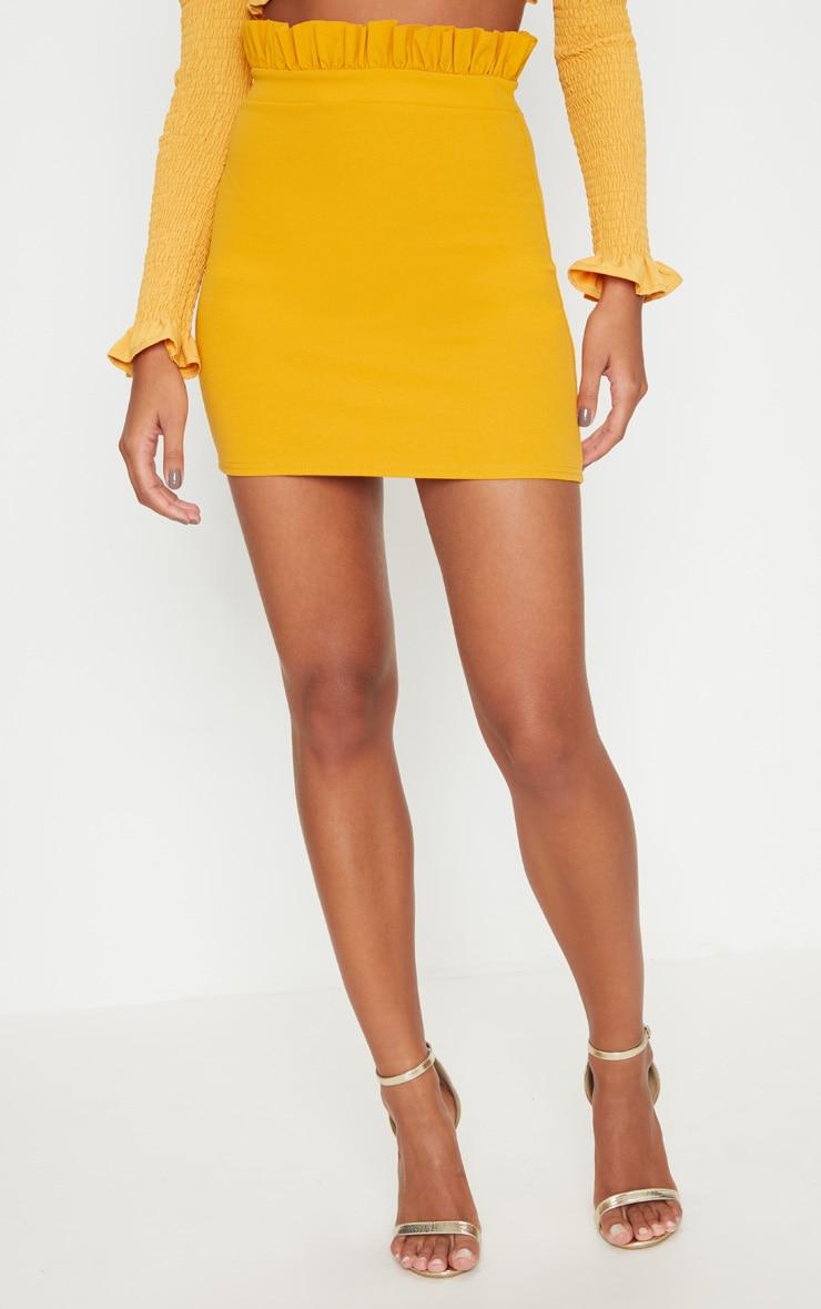 Mustard Gathered Waist Detail Mini Skirt  2