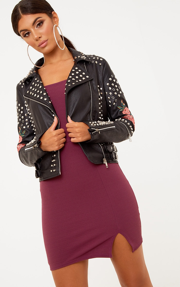 Black LA Lady Extreme Studded PU Biker Jacket 2