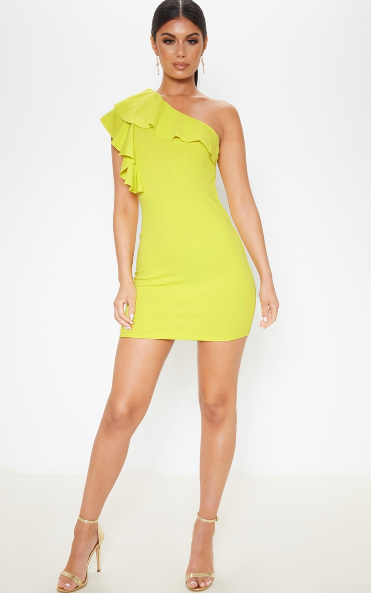 Chartreuse One Shoulder Frill Detail Bodycon Dress 1