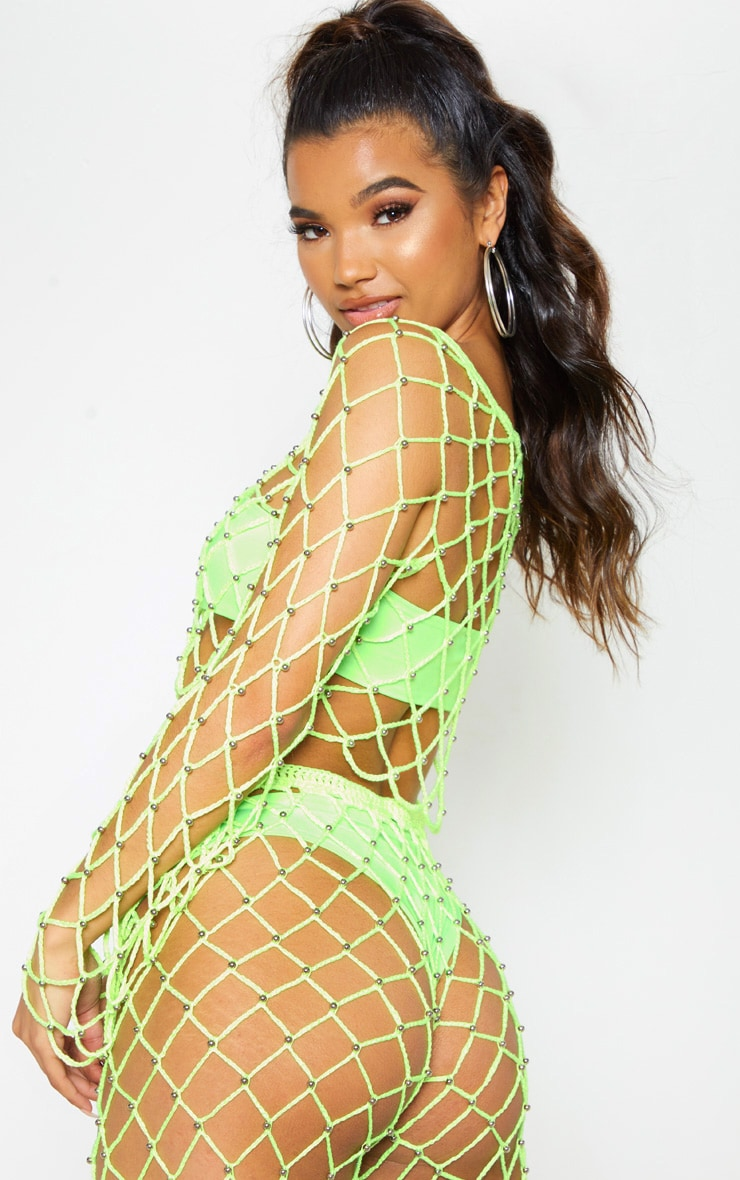 Neon Lime Crochet Beaded Long Sleeve Top 3