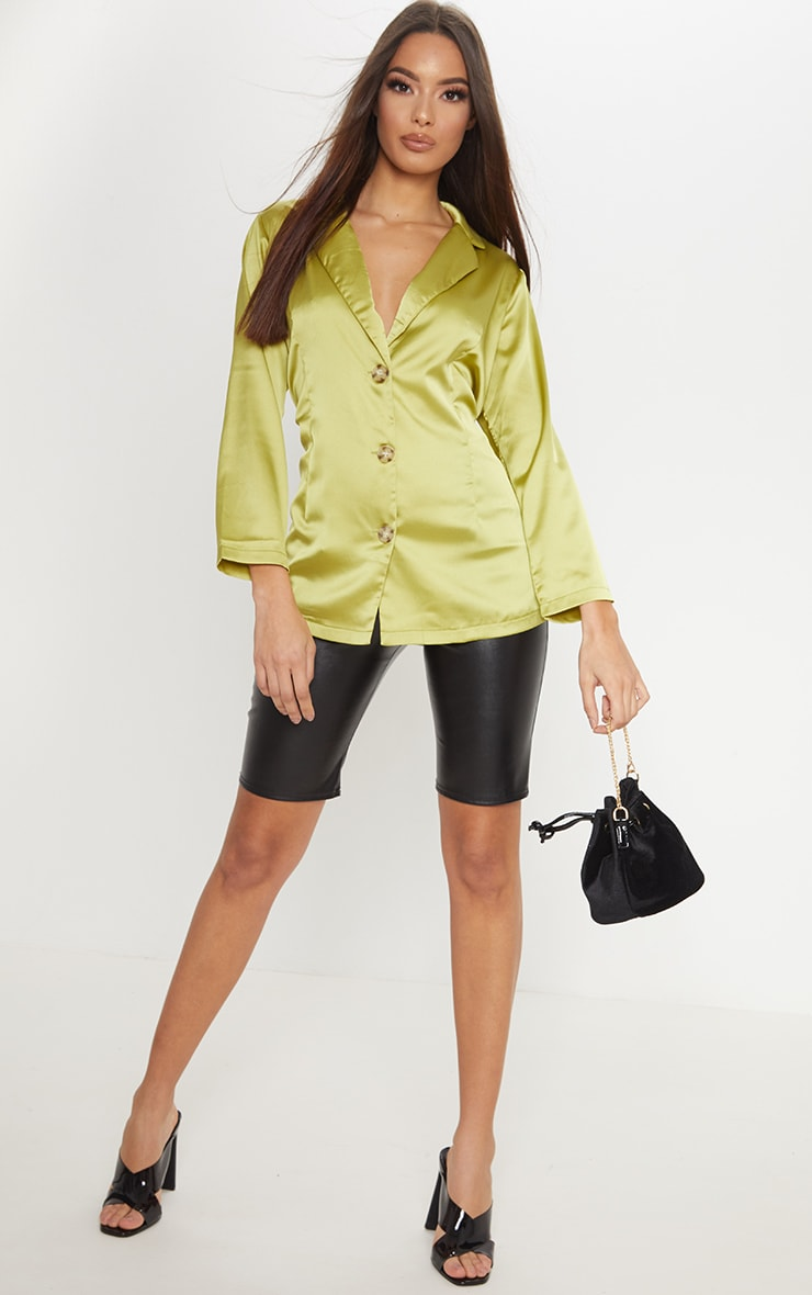 Lime Tortoise Shell Button Satin Blouse
