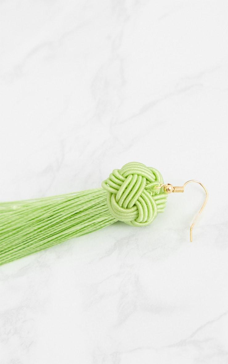Lime Knotted Tassel Earrings 4