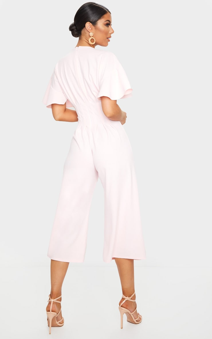 Dusty Pink Pleated Waist Plunge Culotte Jumpsuit 2