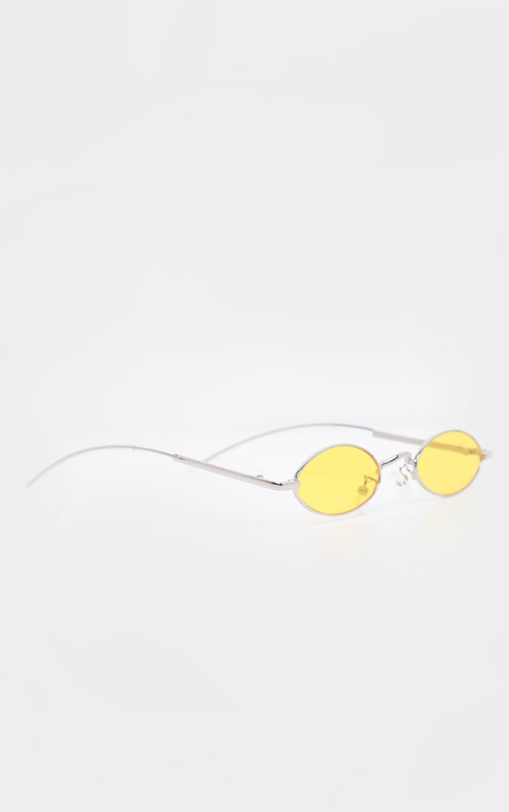 Yellow  Slim Metal Frame Oval Sunglasses 3