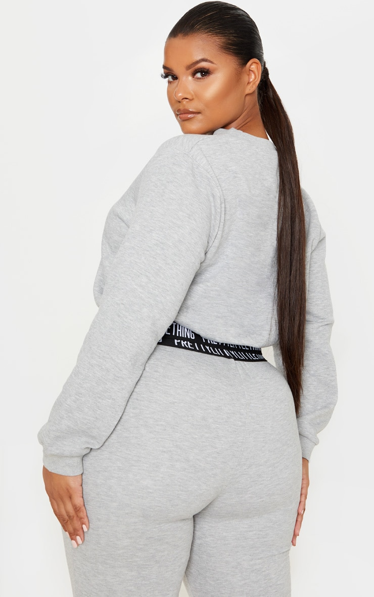 PRETTYLITTLETHING Plus Grey Lounge Sweater 2