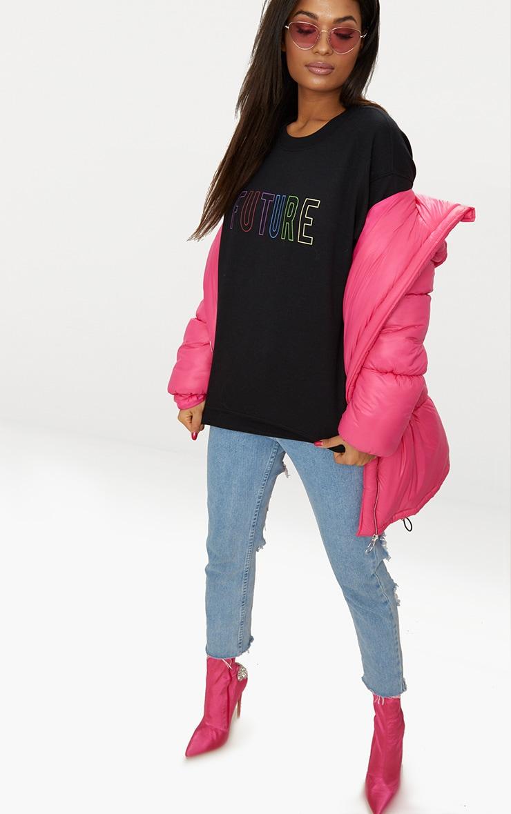 Black Future Slogan Sweater  4