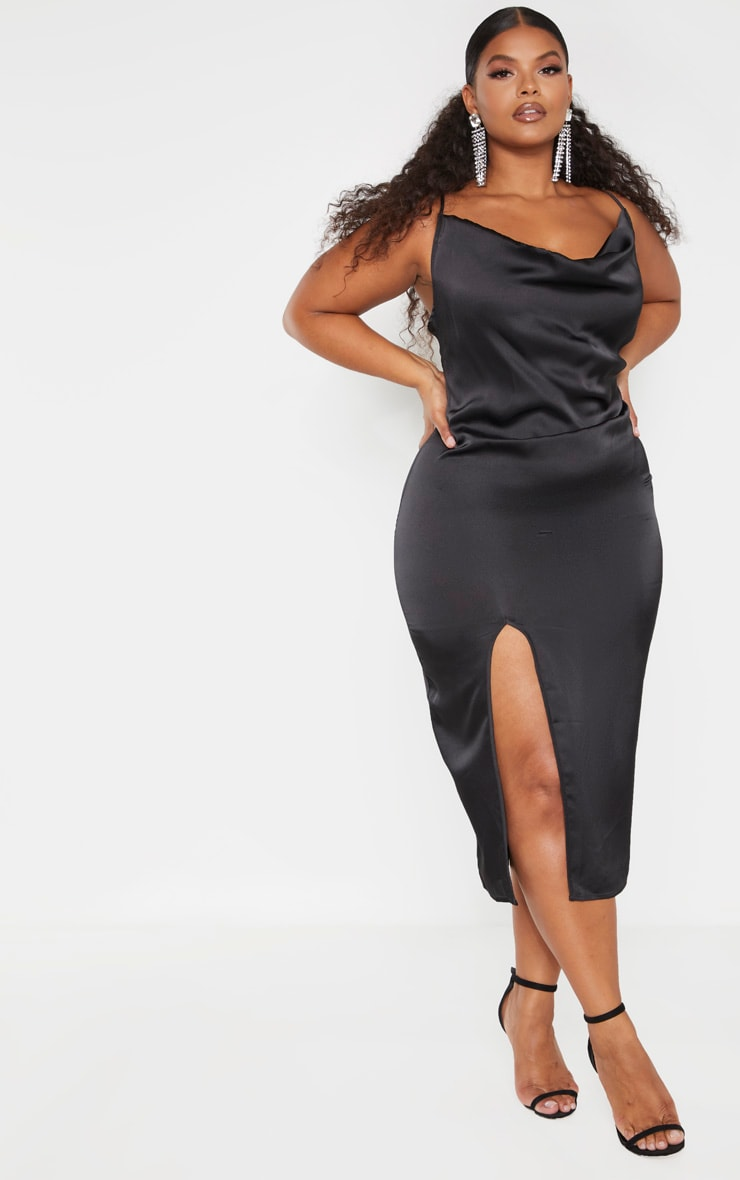 Plus Black Strappy Satin Cowl Midi Dress 1