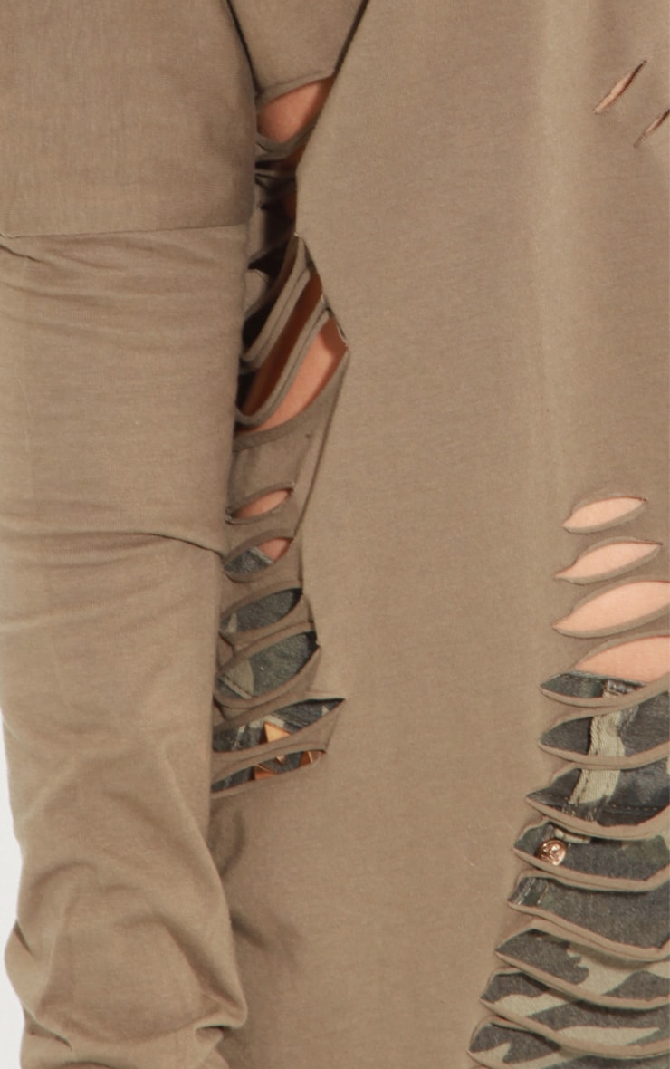 Maura Khaki Tee With Spike And Slit Detail 5