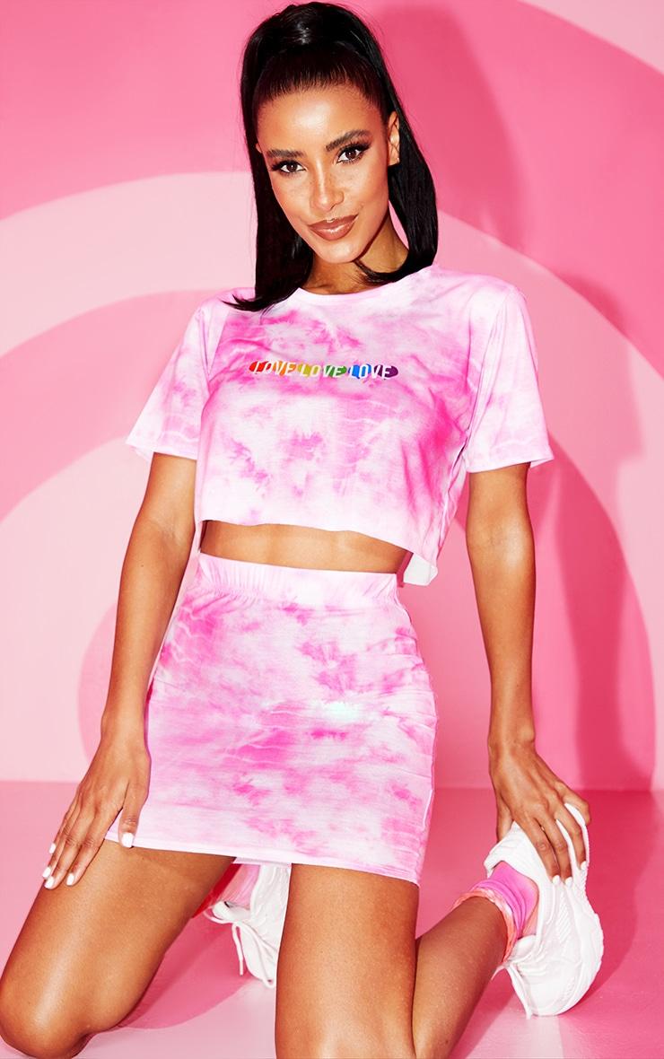 Pink Tie Dye Bodycon Skirt 1