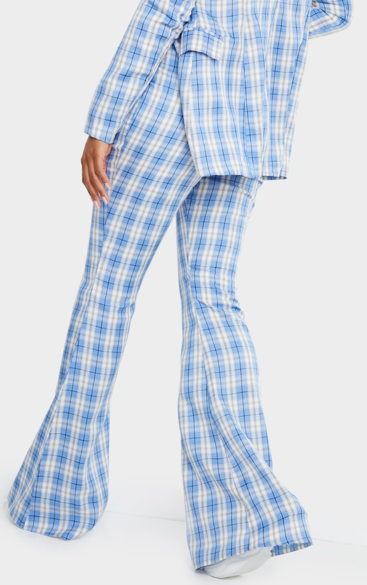 Light Blue Check Print Extreme Flare Trousers 3