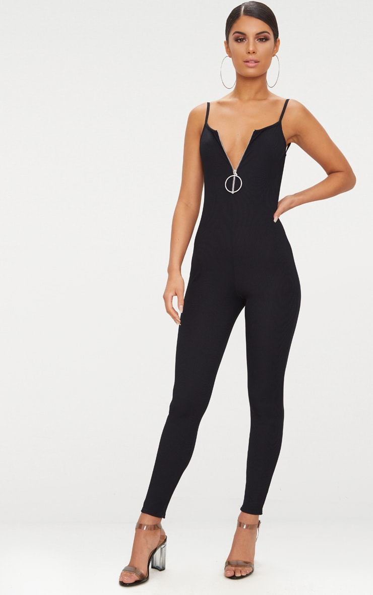 Black Ribbed Ring Pull Jumpsuit 1