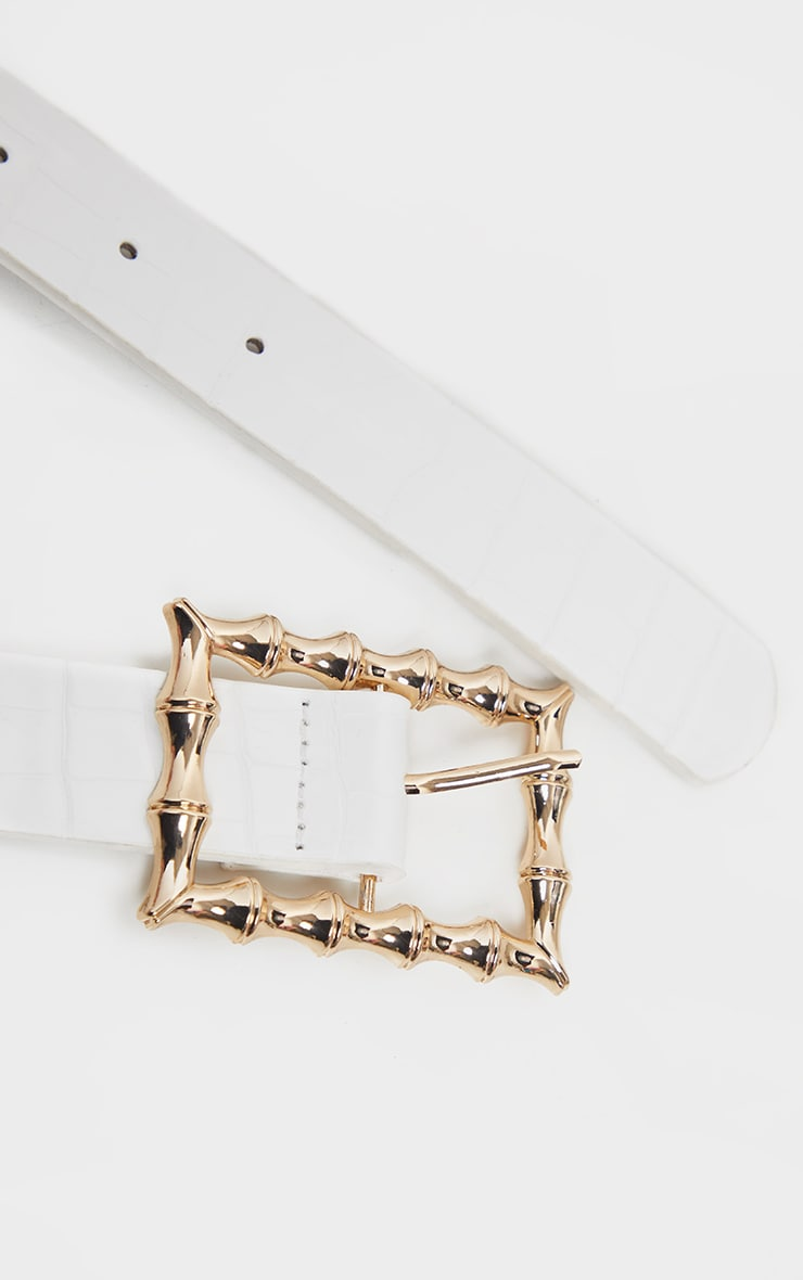 White Square Bamboo Buckle Belt 3
