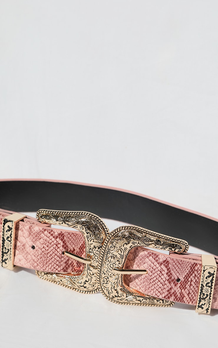 Pink Snake Ornate Buckle Waist Belt 4