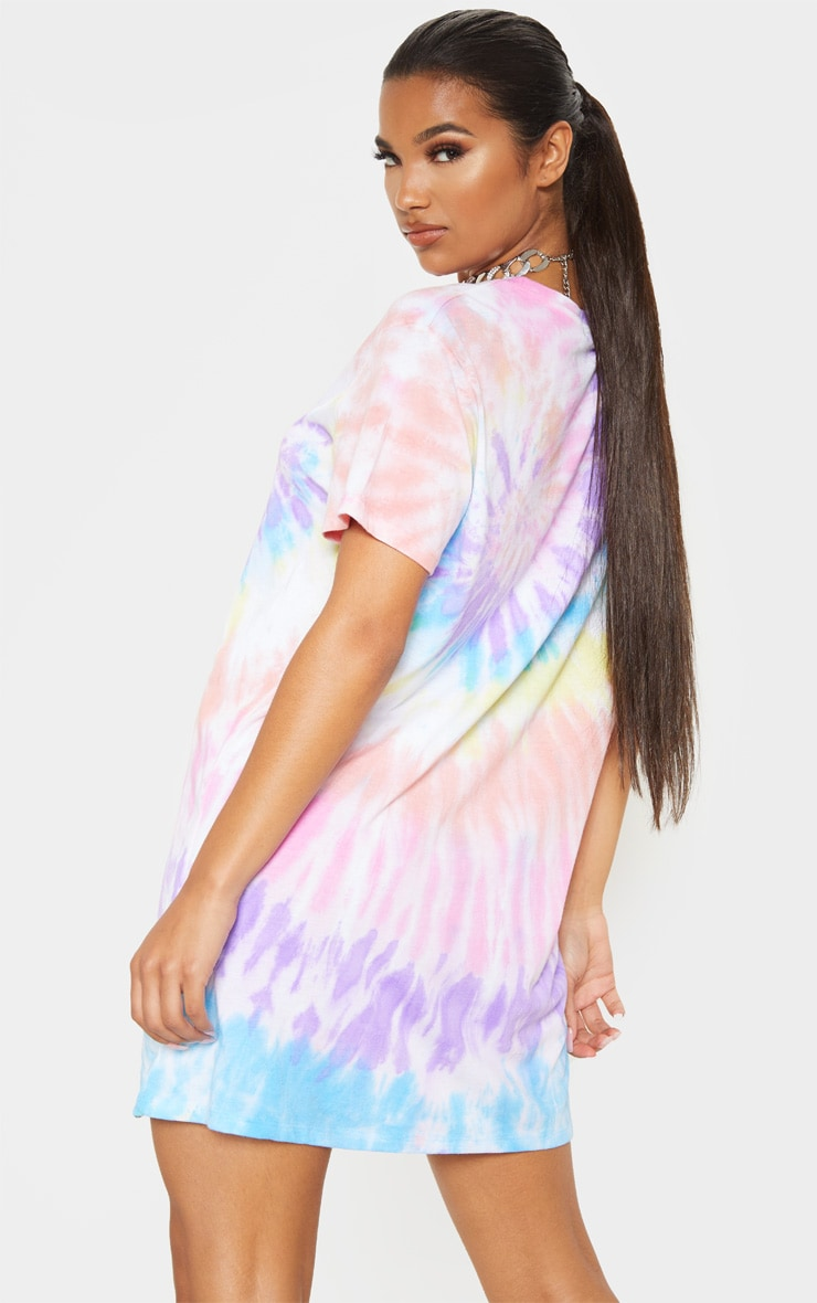 Multi Tie Dye Oversized T Shirt Dress 2