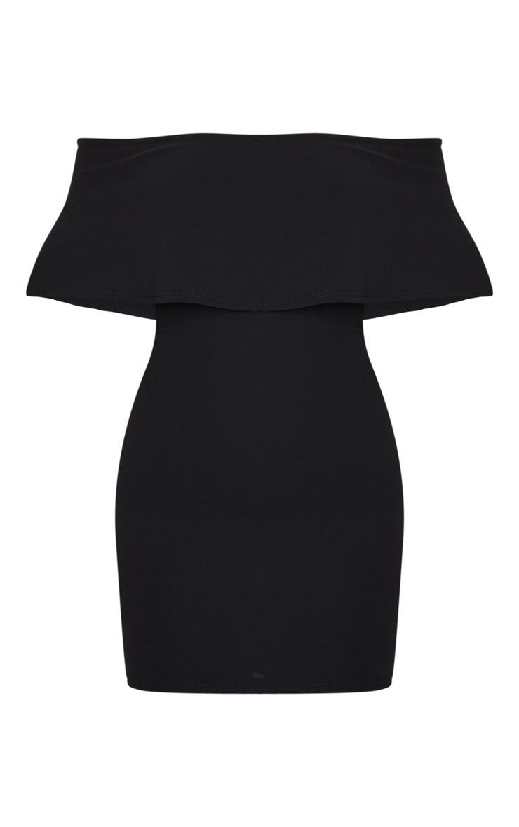 Carley Black Frill Bodycon Dress 5