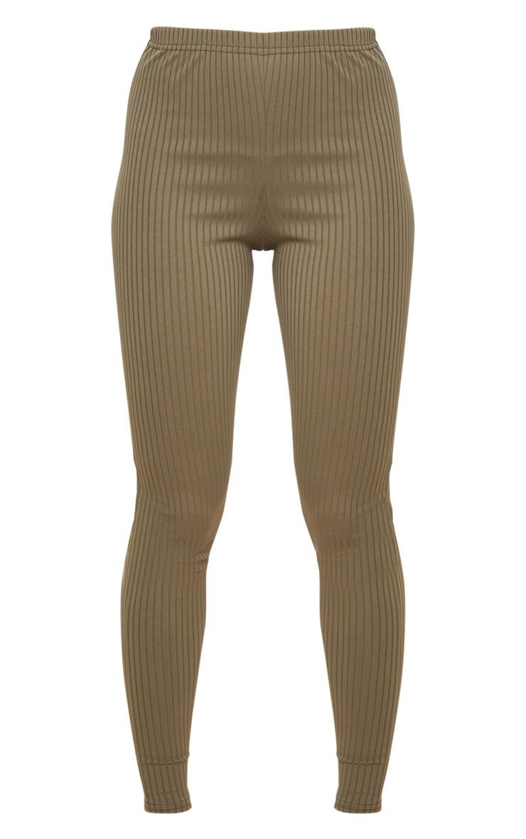 Khaki Ribbed Leggings 6