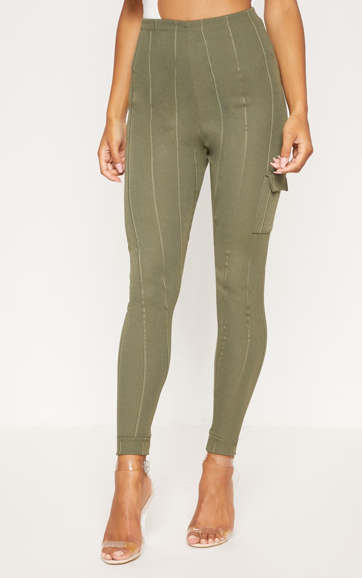 Khaki Bandage Pocket Detail Skinny Trouser 2