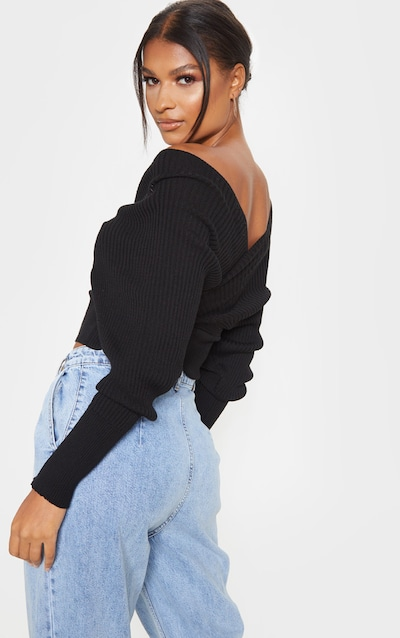 Black Wrap Off The Shoulder Jumper
