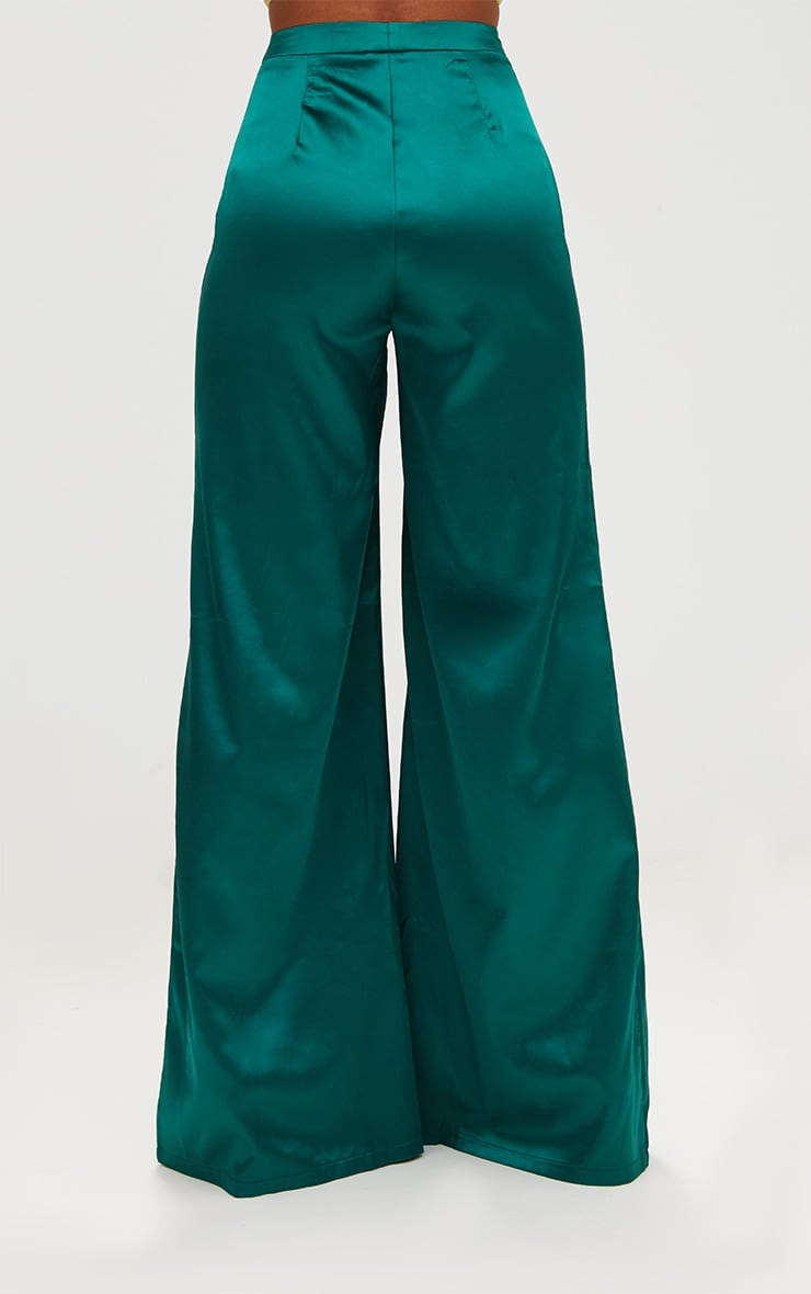Forest Green Satin Wide Leg Trousers 4