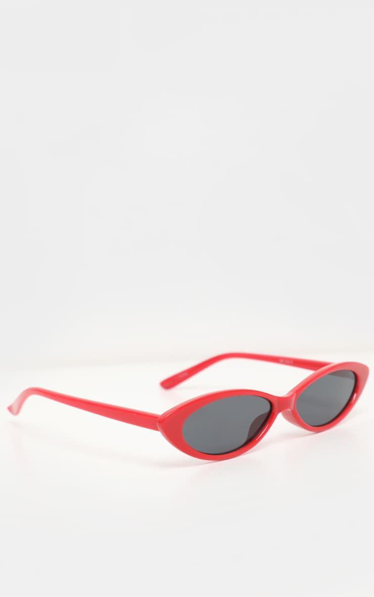 Red Super Slim Cat Eye Sunglasses 3