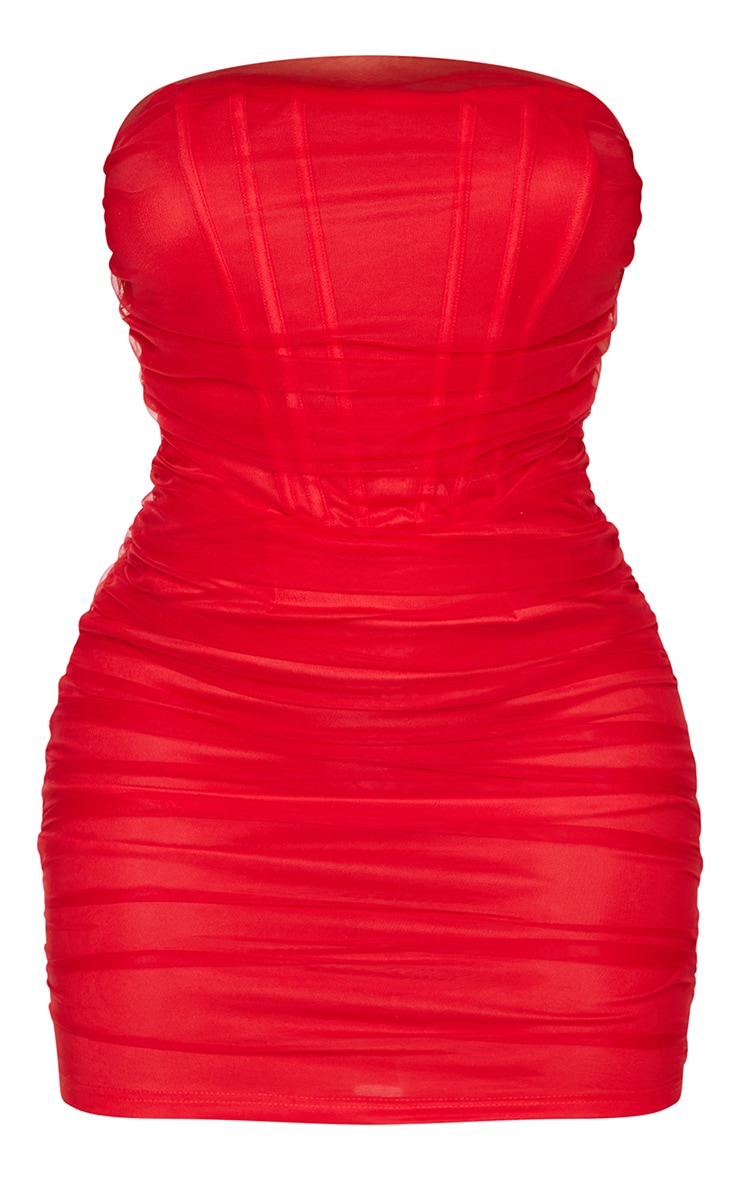 Shape Red Mesh Corset Detail Ruched Bodycon Dress 5