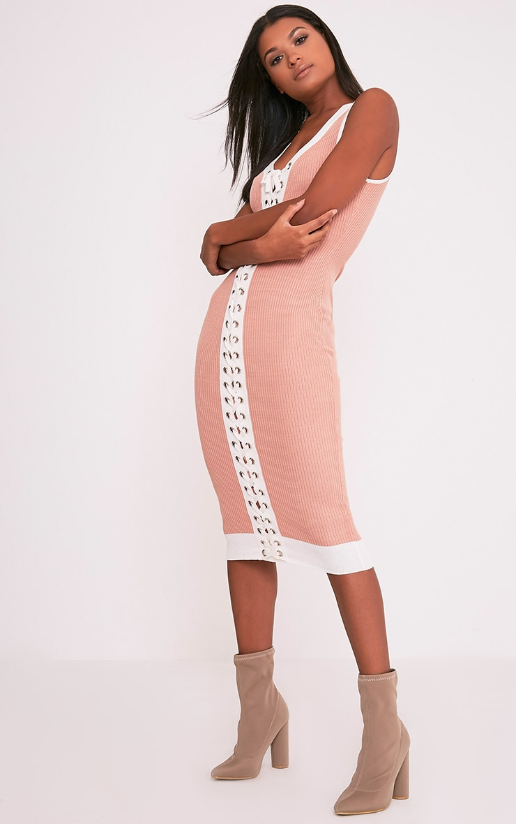 Joseline Knitted Nude Tie Ribbed Maxi Dress 4